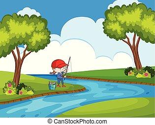 child fishing in park scene