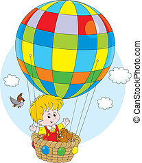 Child flying on a balloon - Little boy travelling with his...