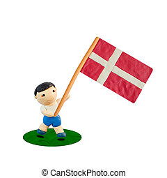 Child Football with the flag of Denmark