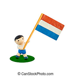 Child Football with the flag of Netherlands
