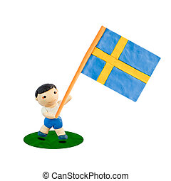 Child Football with the flag of Sweden