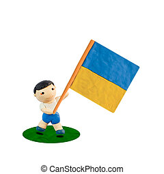 Child Football with the flag of Ukraine