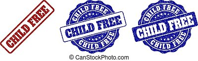 CHILD FREE Scratched Stamp Seals