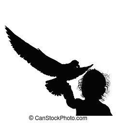 child fun silhouette with bird illustration in black
