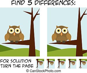 Child game - find 5 differences in pictures with natural theme - owl sitting on branch