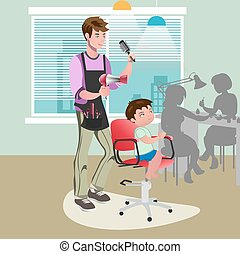 Child getting a haircut at hairdresser