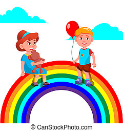 Child Girl And Boy Sitting On The Rainbow Vector. Illustration