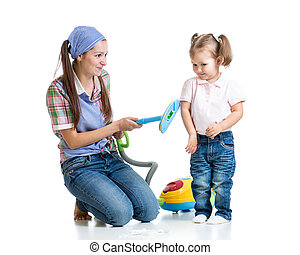 Child girl and mother with vacuum cleaner