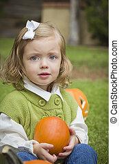 Child Girl at Pumpkin Patch