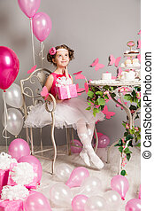 Child Girl Birthday Party, Dreaming Kid with Present Gift Box Dressed in Ballerina Dress, Retro Style Holiday