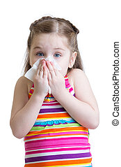 Child girl blowing his nose into handkerchief isolated on white background