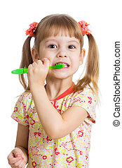 child girl brushing teeth isolated on white background
