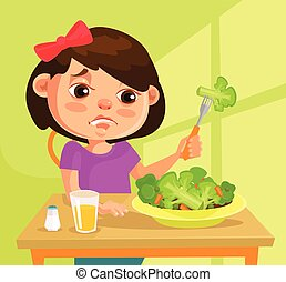 Child girl character does not want to eat broccoli. Vector...