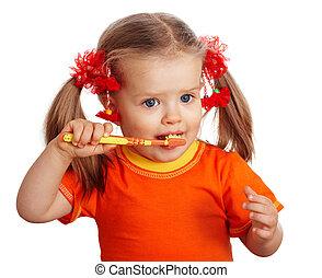 Child girl clean brush teeth. Isolated.