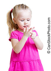child girl counting on fingers of her hands isolated