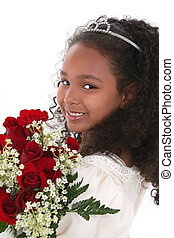 Child Girl Crown - Beautiful six year old girl in pageant...