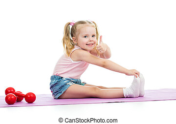 Child girl doing exercises and showing thumb up