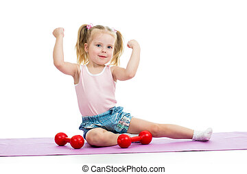 Child girl doing exercises with weights