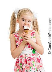 child girl eating ice cream in studio isolated