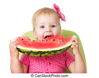 child girl eating watermelon isolated on white background - ...