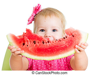 Child girl eating watermelon isolated on white background