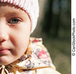 child girl half face portrait