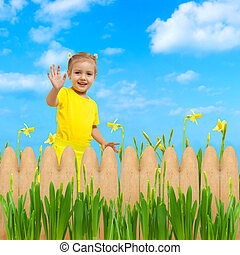 child girl happy flowers garden background waving hello hand up