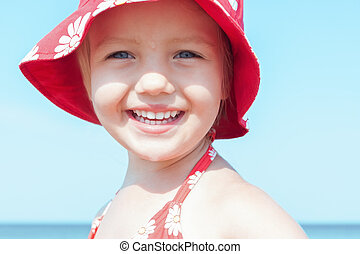 child girl happy smile close up