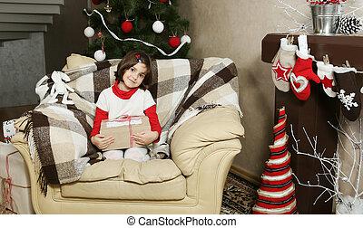 Child Girl Holding Christmas Gift