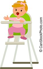 Child girl in baby highchair with plate of porridge. Vector cartoon illustration isolated on a white background.