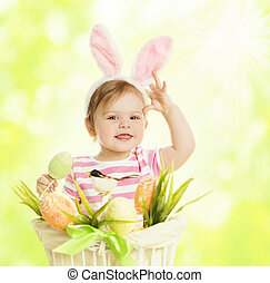 Child Girl in Bunny Ears, Basket with Eggs, Little Kid Dressed Pink Rabbit Ear, Funny Baby in Hare mask Green