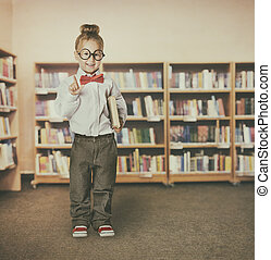 Child Girl in School Library Holding Books, Kid in Glasses Pointing to Advertisement