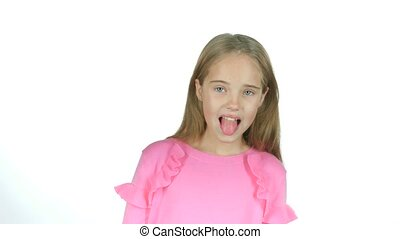 Child girl is making faces. White background. Slow motion