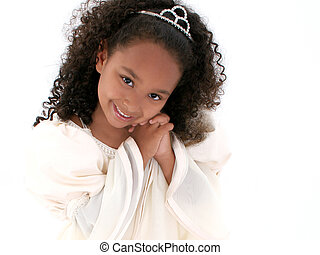 Beautiful little six year old girl in formal dress and tiara. Close-up over white. Shot with the Canon 20D.