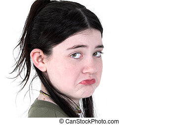 Child Girl Pouting - Pretty 12 year old girl pouting. Shot...
