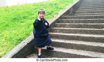 Child girl say goodbye go to school