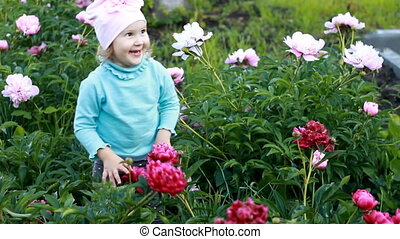 Child girl smells the aroma of peony flowers. Baby walks in the garden with peonies