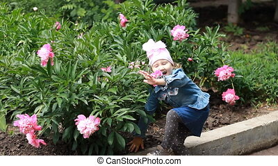 Child girl sniffs the aroma of peony flower and sneezes....