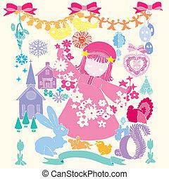 Child girl wedding card happy christmas cartoon