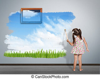 child girl with paint brush painting wall in color of nature