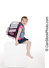 child girl with school bag