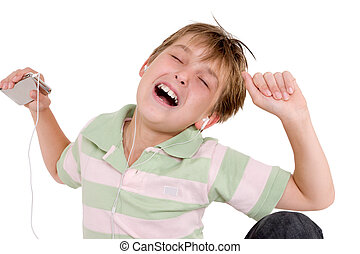 Child grooving to music