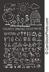 Child hand drawing illustration of happy family with kids near home, sun and dog