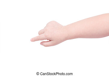 Child hand isolated over white