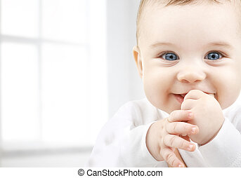 adorable baby - child, happiness and people concept -...