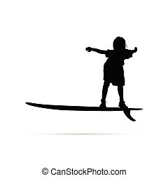child happy silhouette with surfboard in black illustration