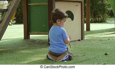 child having fun in playground