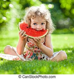 Child having picnic