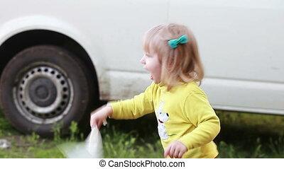 Child her nose in handkerchief