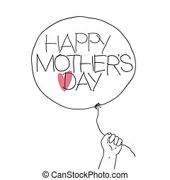 Child hold the thread of balloon with greeting text and heart sign. Vector illustration of outline sketch Mother's day with hand-drawn text and red heart on balloon. Abstract greeting card, isolated on white background.
